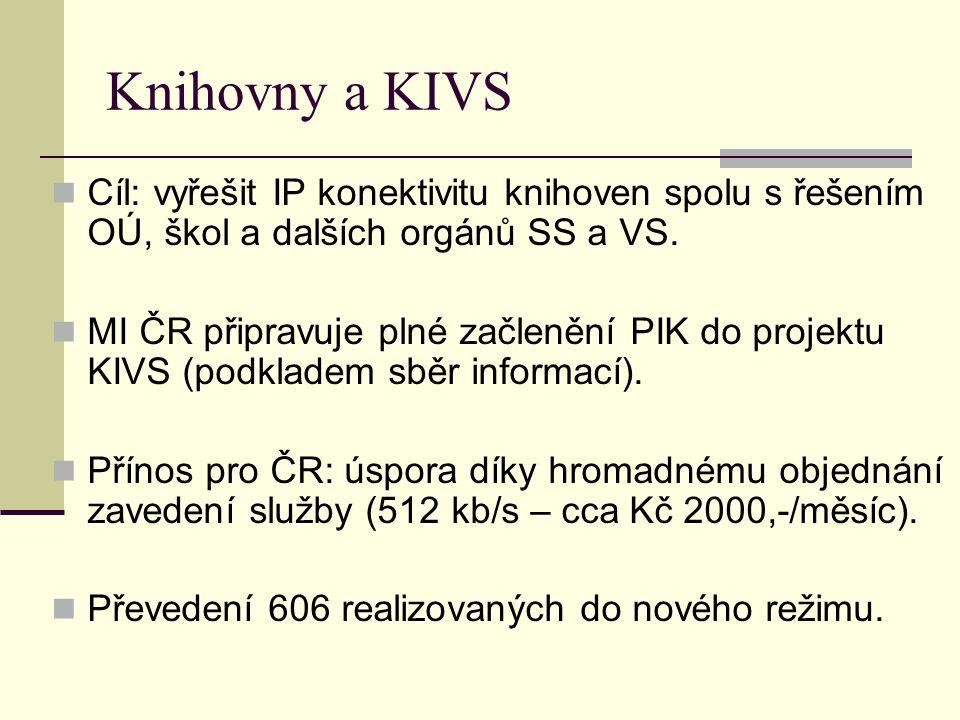 Knihovny a KIVS Cíl: vyřešit IP konektivitu knihoven spolu s řešením OÚ, škol a dalších orgánů SS a VS. MI ČR připravuje plné začlenění PIK do projekt