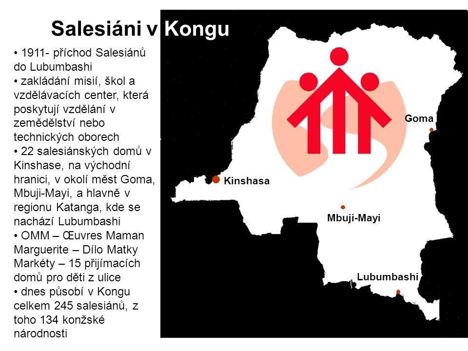 Salesiáni v Kongu 1911- příchod Salesiánů do Lubumbashi zakládání misií, škol a vzdělávacích center, která poskytují vzdělání v zemědělství nebo techn