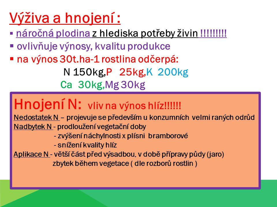 Výživa a hnojení :  náročná plodina z hlediska potřeby živin !!!!!!!!!  ovlivňuje výnosy, kvalitu produkce  na výnos 30t.ha-1 rostlina odčerpá: N 1