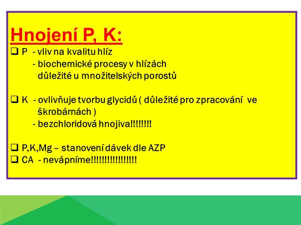 Hnojení P, K:  P - vliv na kvalitu hlíz - biochemické procesy v hlízách důležité u množitelských porostů  K - ovlivňuje tvorbu glycidů ( důležité pr