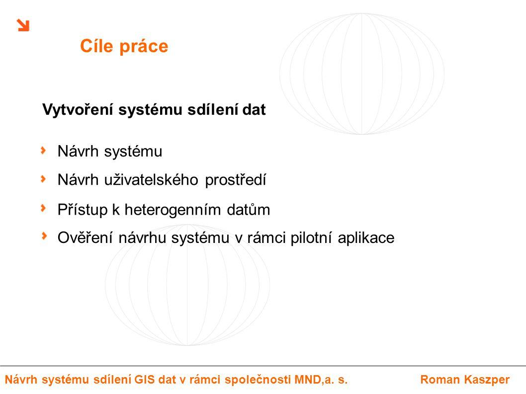 Cíle práce Přístup k heterogenním datům Návrh uživatelského prostředí Ověření návrhu systému v rámci pilotní aplikace Návrh systému Vytvoření systému