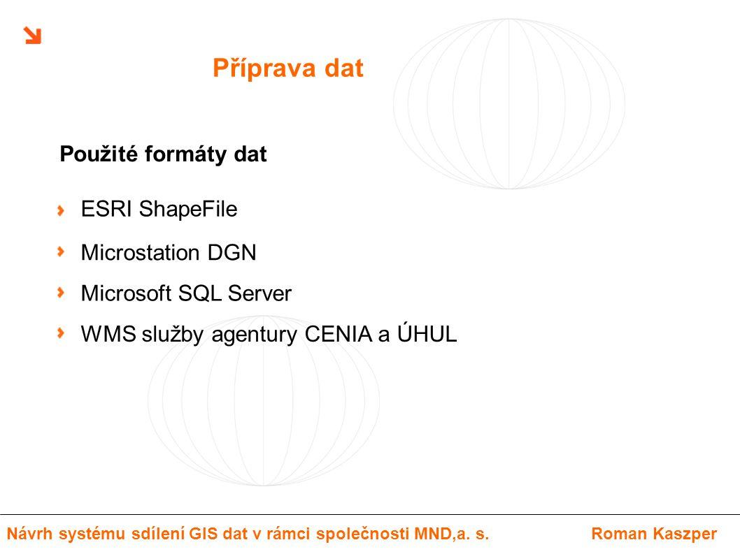 Příprava dat ESRI ShapeFile Microstation DGN Microsoft SQL Server WMS služby agentury CENIA a ÚHUL Použité formáty dat Návrh systému sdílení GIS dat v