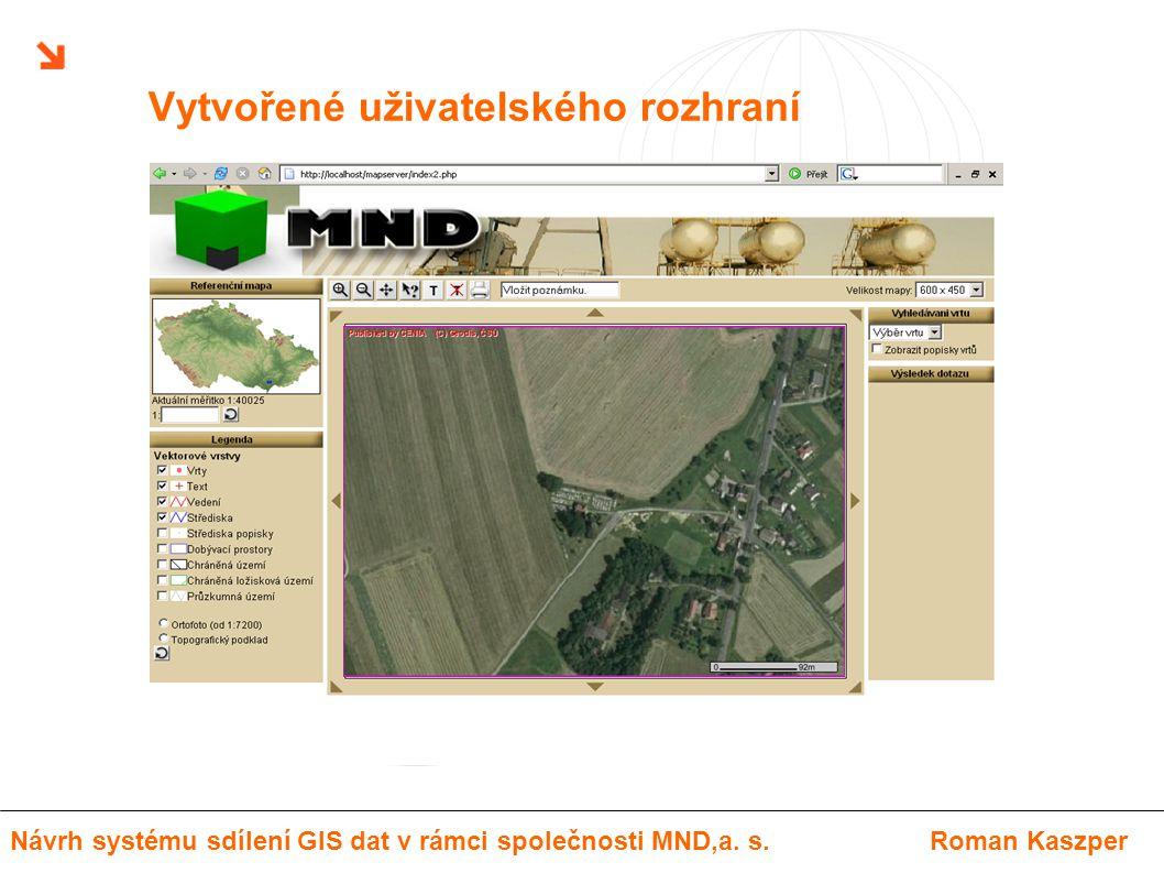 Vytvořené uživatelského rozhraní Návrh systému sdílení GIS dat v rámci společnosti MND,a. s.Roman Kaszper