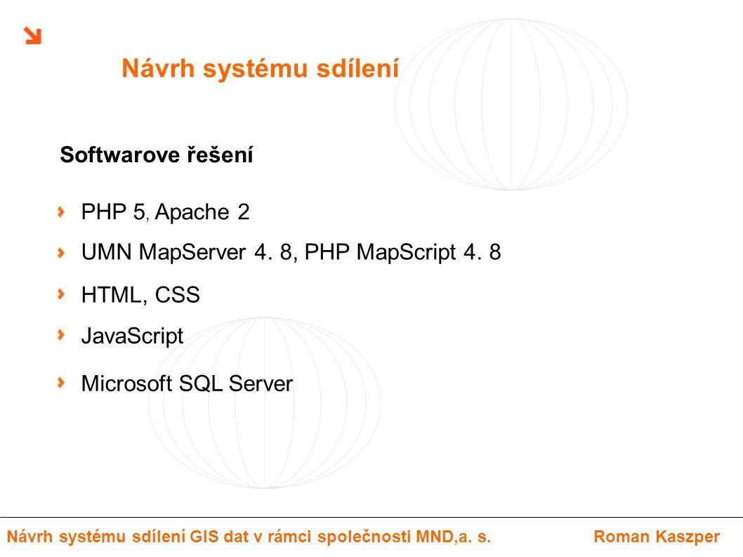 Návrh systému sdílení PHP 5, Apache 2 UMN MapServer 4. 8, PHP MapScript 4. 8 HTML, CSS JavaScript Softwarove řešení Návrh systému sdílení GIS dat v rá