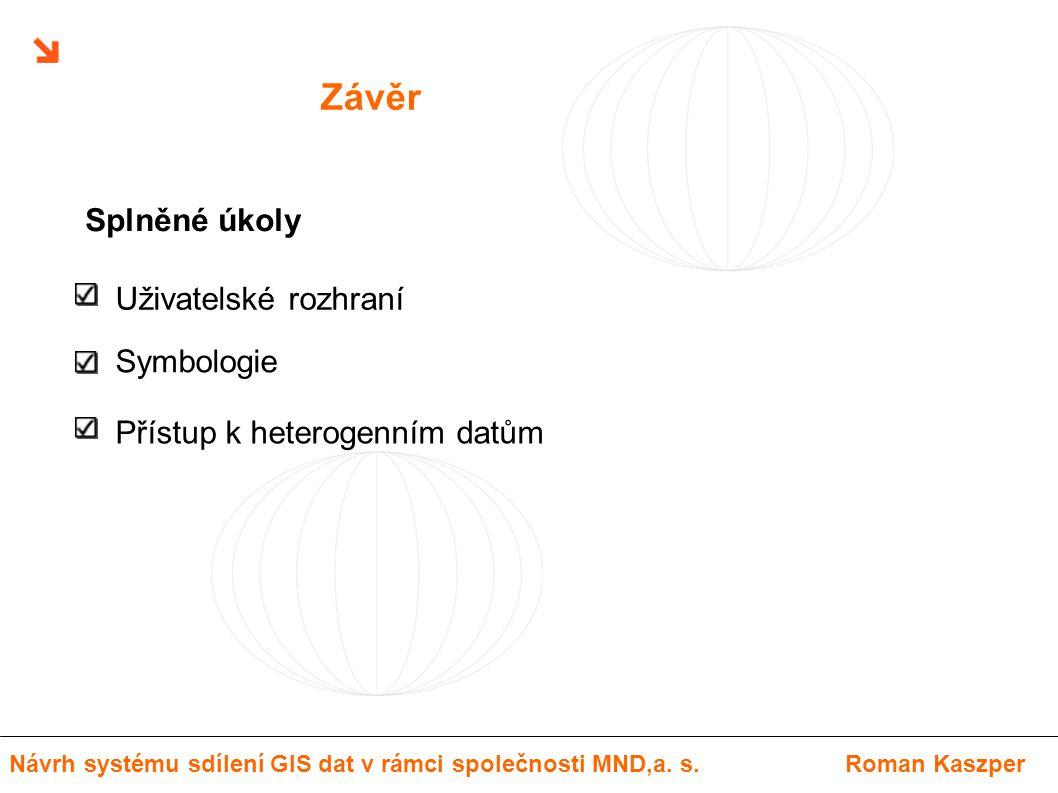 Závěr Uživatelské rozhraní Symbologie Přístup k heterogenním datům Splněné úkoly Návrh systému sdílení GIS dat v rámci společnosti MND,a. s.Roman Kasz