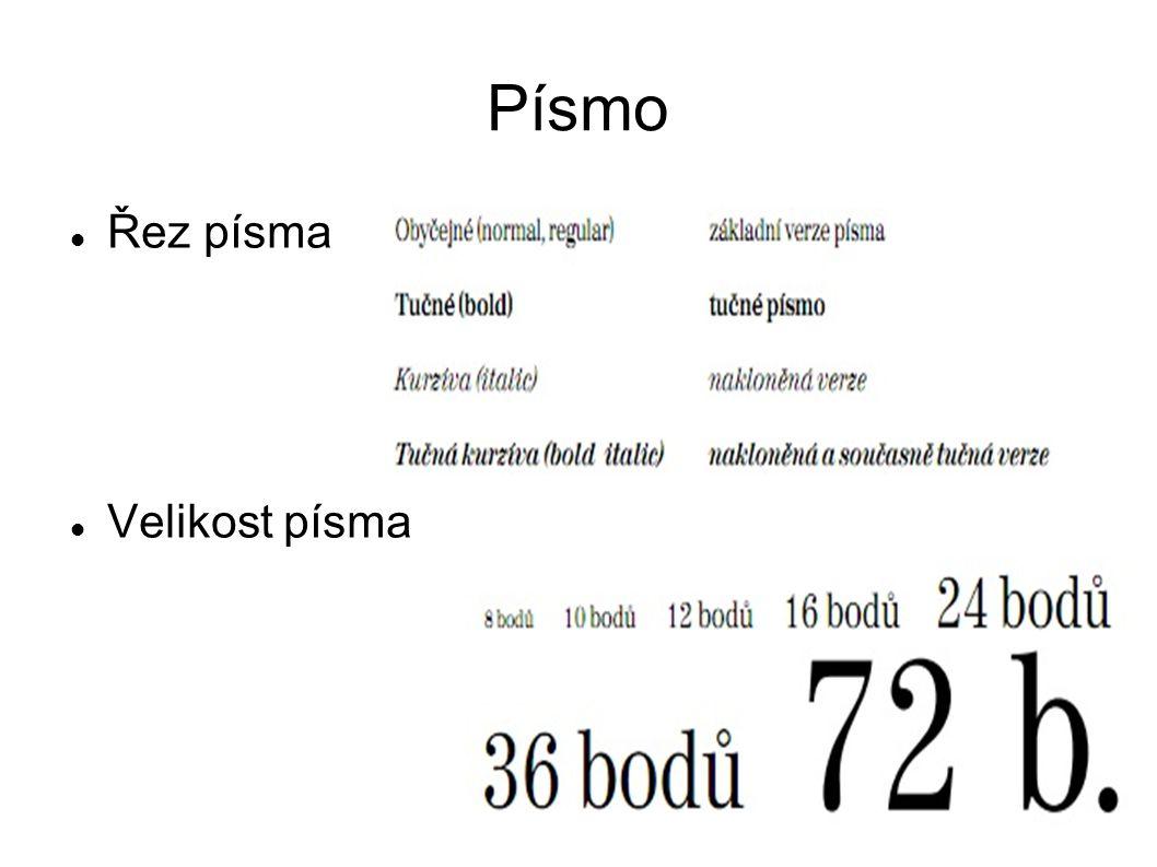 Základní typografická a estetická pravidla Používání a kombinování písem Pro základní texty (dlouhé odstavce) by se mělo používat písmo patkové (antikva - –třeba Times New Roman), protože je považováno za čitelnější, než bezpatkové (grotesk - třeba Arial).