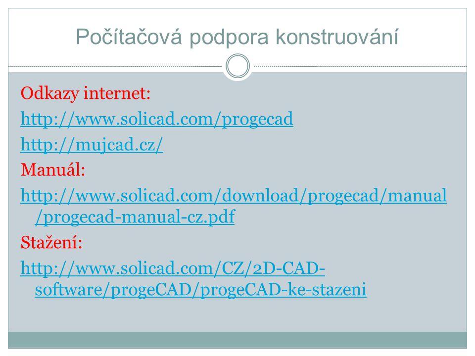 Odkazy internet: http://www.solicad.com/progecad http://mujcad.cz/ Manuál: http://www.solicad.com/download/progecad/manual /progecad-manual-cz.pdf Sta