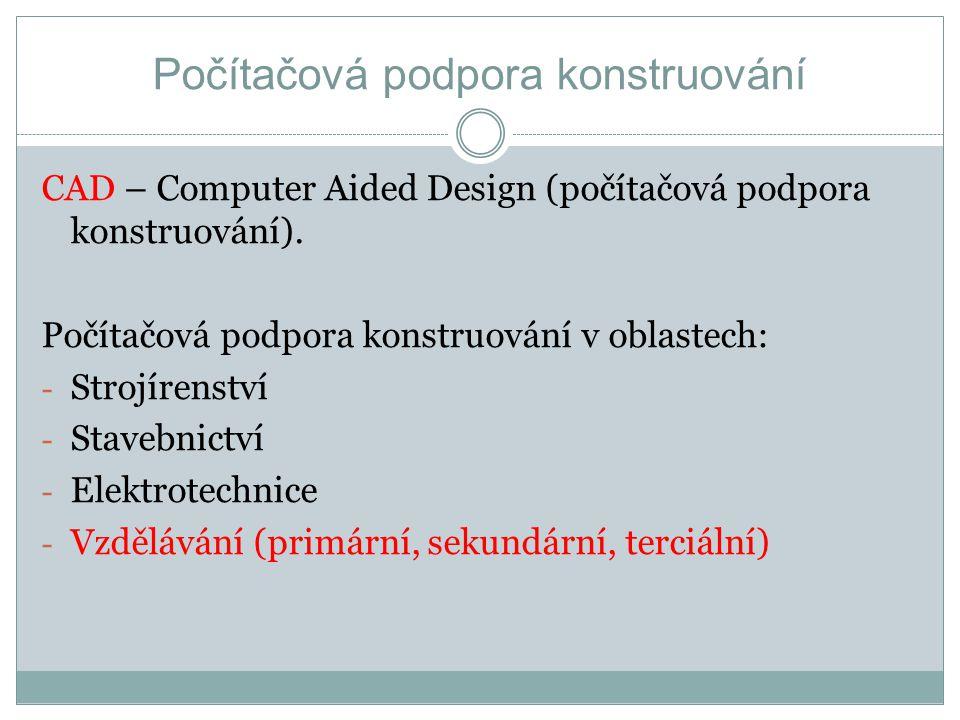 Počítačová podpora konstruování CAD – Computer Aided Design (počítačová podpora konstruování). Počítačová podpora konstruování v oblastech: - Strojíre