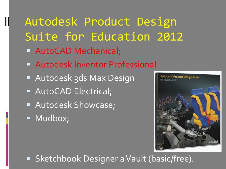 Autodesk Product Design Suite for Education 2012  AutoCAD Mechanical;  Autodesk Inventor Professional  Autodesk 3ds Max Design  AutoCAD Electrical;  Autodesk Showcase;  Mudbox;  Sketchbook Designer a Vault (basic/free).