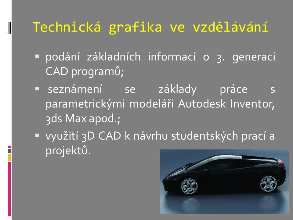 Technická grafika ve vzdělávání  podání základních informací o 3. generaci CAD programů;  seznámení se základy práce s parametrickými modeláři Autod