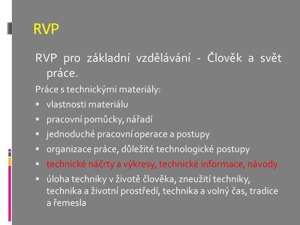 RVP RVP pro základní vzdělávání - Člověk a svět práce. Práce s technickými materiály:  vlastnosti materiálu  pracovní pomůcky, nářadí  jednoduché p