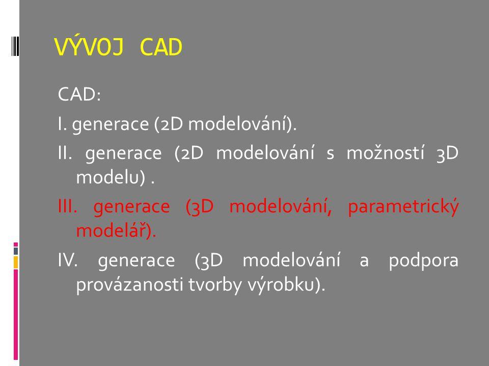 VÝVOJ CAD CAD: I. generace (2D modelování). II. generace (2D modelování s možností 3D modelu). III. generace (3D modelování, parametrický modelář). IV