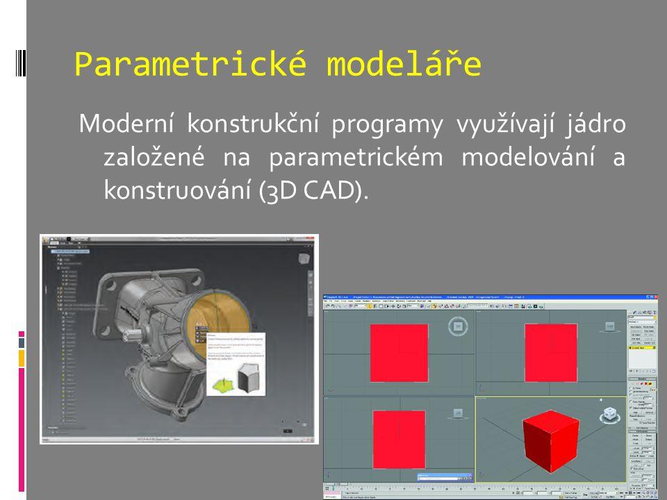 Parametrické modeláře Moderní konstrukční programy využívají jádro založené na parametrickém modelování a konstruování (3D CAD).