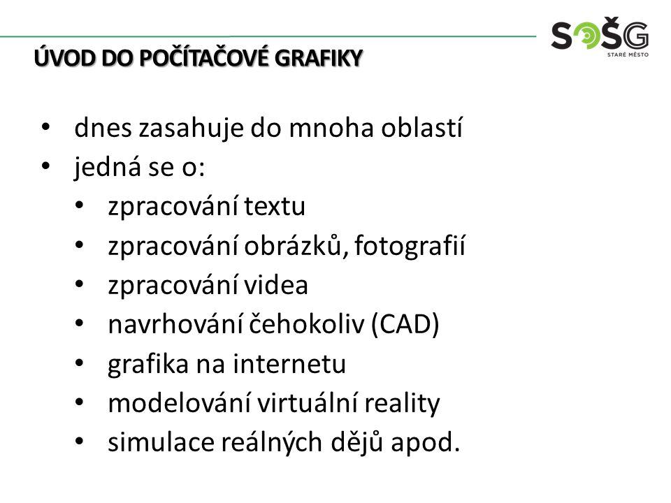 ÚVOD DO POČÍTAČOVÉ GRAFIKY dnes zasahuje do mnoha oblastí jedná se o: zpracování textu zpracování obrázků, fotografií zpracování videa navrhování čehokoliv (CAD) grafika na internetu modelování virtuální reality simulace reálných dějů apod.