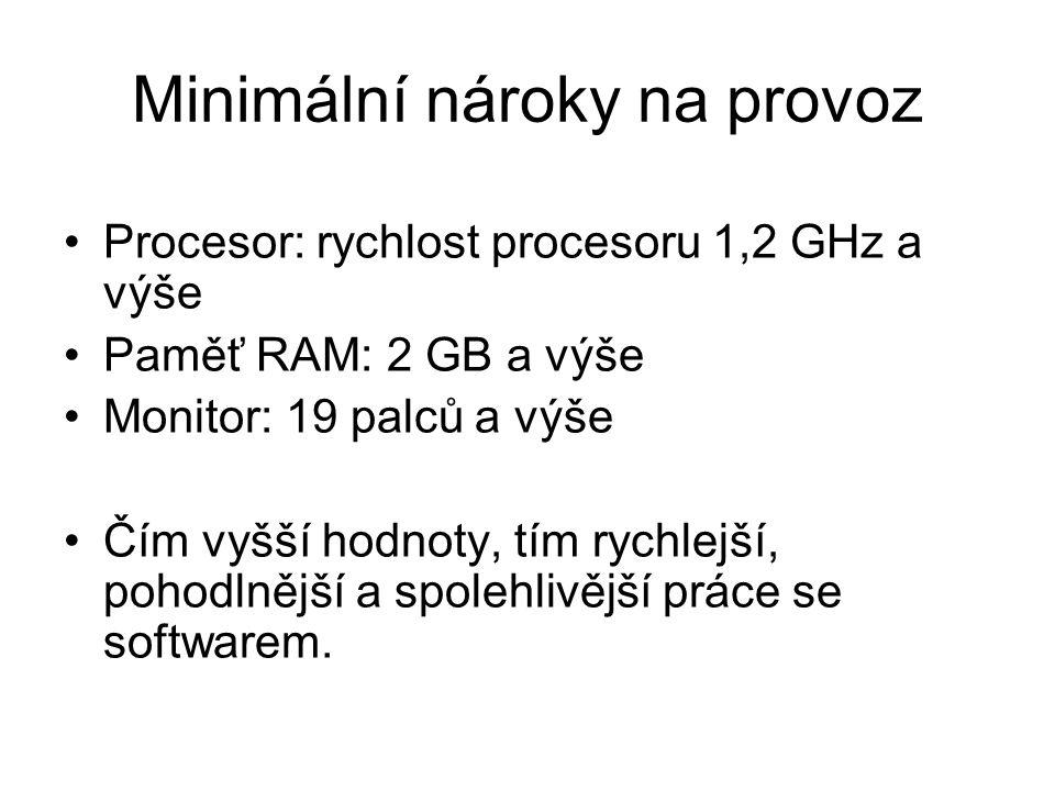 Minimální nároky na provoz Procesor: rychlost procesoru 1,2 GHz a výše Paměť RAM: 2 GB a výše Monitor: 19 palců a výše Čím vyšší hodnoty, tím rychlejš