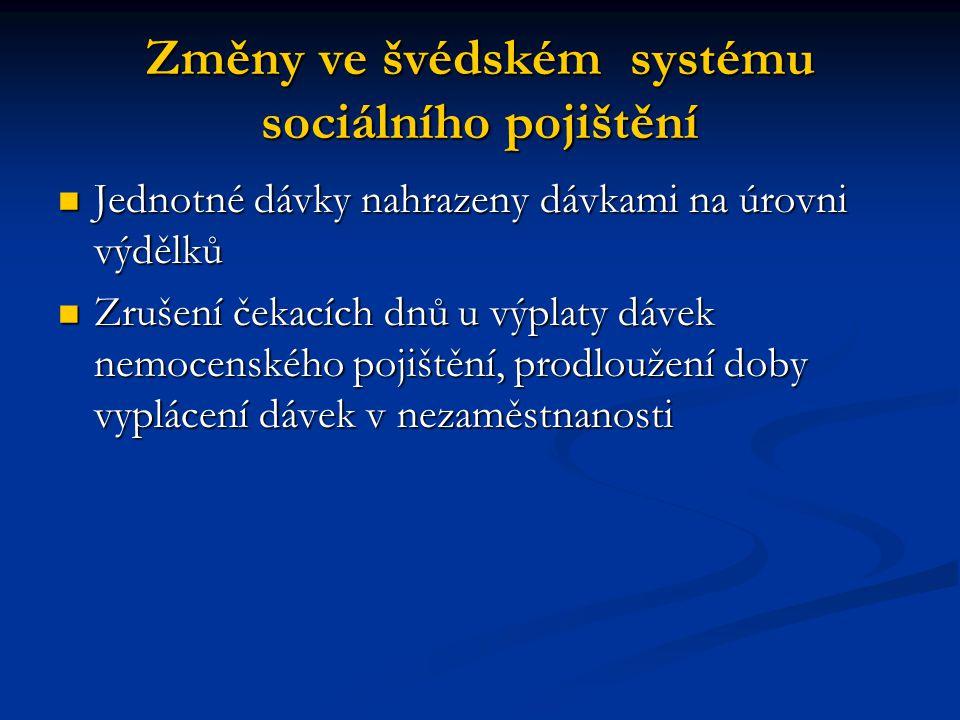 Změny ve švédském systému sociálního pojištění Jednotné dávky nahrazeny dávkami na úrovni výdělků Jednotné dávky nahrazeny dávkami na úrovni výdělků Z