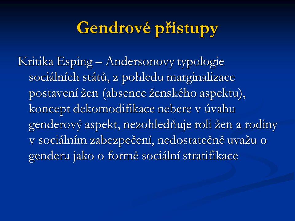 Gendrové přístupy Kritika Esping – Andersonovy typologie sociálních států, z pohledu marginalizace postavení žen (absence ženského aspektu), koncept d