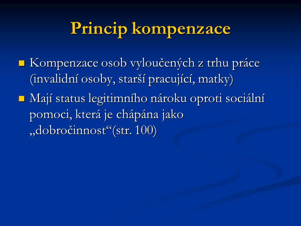 Princip kompenzace Kompenzace osob vyloučených z trhu práce (invalidní osoby, starší pracující, matky) Kompenzace osob vyloučených z trhu práce (inval