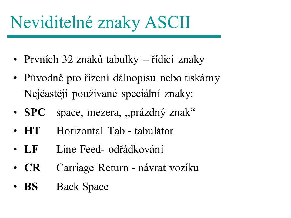 Neviditelné znaky ASCII Prvních 32 znaků tabulky – řídicí znaky Původně pro řízení dálnopisu nebo tiskárny Nejčastěji používané speciální znaky: SPC s