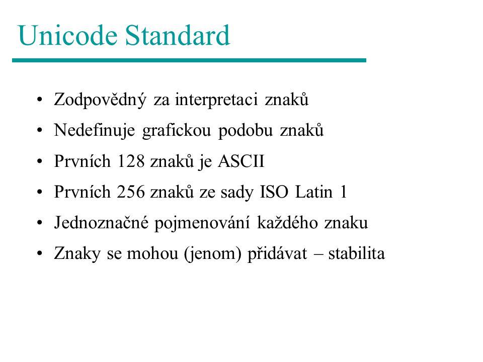 Unicode Standard Zodpovědný za interpretaci znaků Nedefinuje grafickou podobu znaků Prvních 128 znaků je ASCII Prvních 256 znaků ze sady ISO Latin 1 J