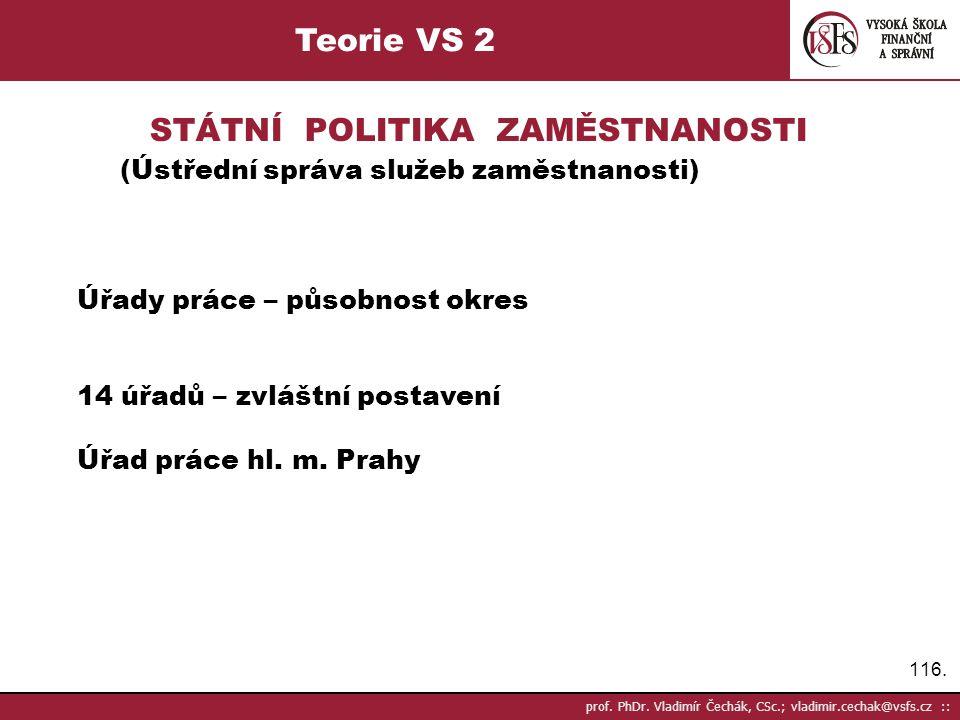 116. prof. PhDr. Vladimír Čechák, CSc.; vladimir.cechak@vsfs.cz :: Teorie VS 2 STÁTNÍ POLITIKA ZAMĚSTNANOSTI (Ústřední správa služeb zaměstnanosti) Úř