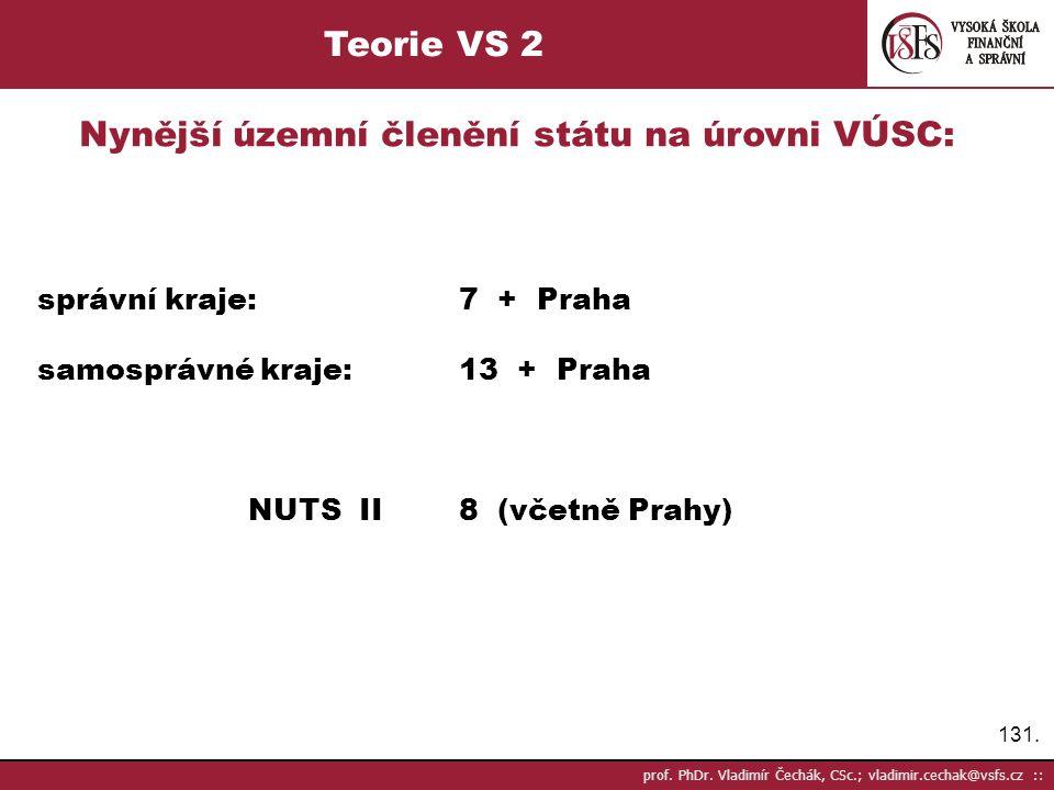 131. prof. PhDr. Vladimír Čechák, CSc.; vladimir.cechak@vsfs.cz :: Teorie VS 2 Nynější územní členění státu na úrovni VÚSC: správní kraje: 7 + Praha s