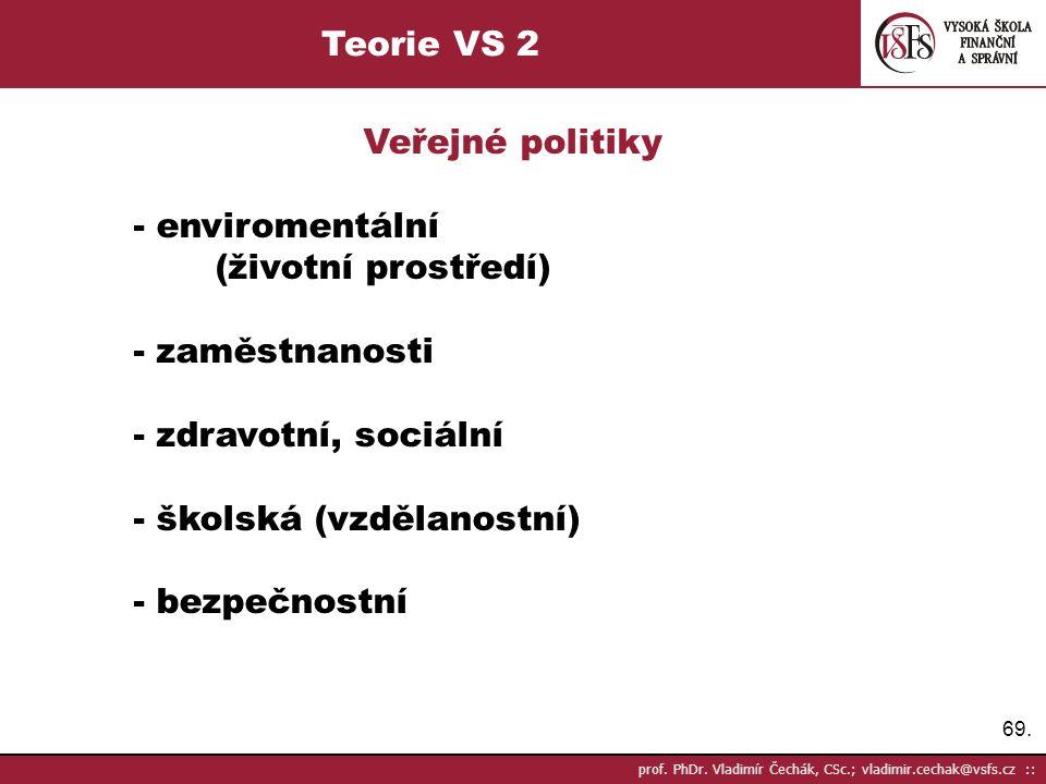 69. prof. PhDr. Vladimír Čechák, CSc.; vladimir.cechak@vsfs.cz :: Teorie VS 2 Veřejné politiky - enviromentální (životní prostředí) - zaměstnanosti -