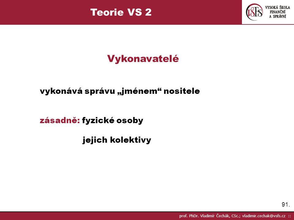 """91. prof. PhDr. Vladimír Čechák, CSc.; vladimir.cechak@vsfs.cz :: Teorie VS 2 Vykonavatelé vykonává správu """"jménem"""" nositele zásadně: fyzické osoby je"""