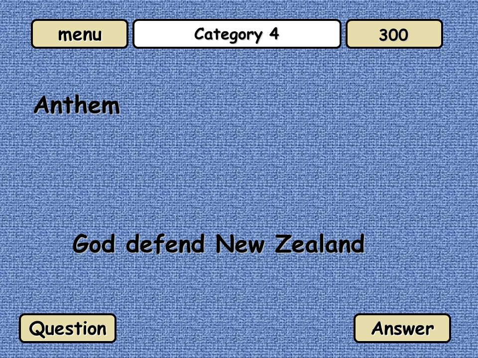 menu Category 4 Anthem God defend New Zealand QuestionAnswer 300