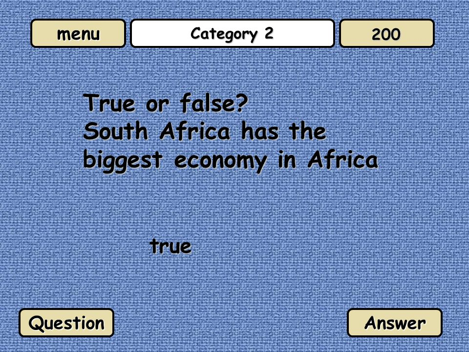 menu Category 2 About 40% of South Africans are unemployed false QuestionAnswer 300
