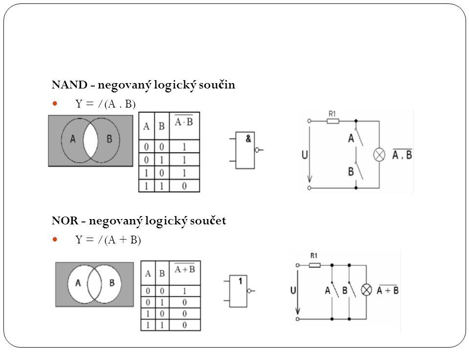 NAND - negovaný logický sou č in Y = /(A. B) NOR - negovaný logický sou č et Y = /(A + B)