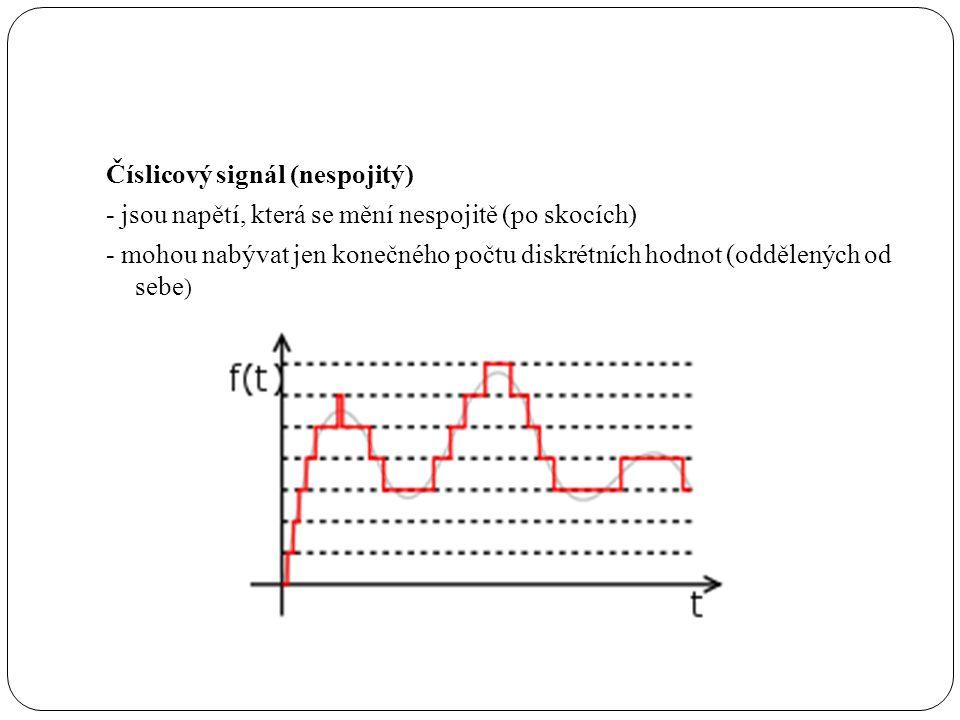 Číslicový signál (nespojitý) - jsou napětí, která se mění nespojitě (po skocích) - mohou nabývat jen konečného počtu diskrétních hodnot (oddělených od sebe )