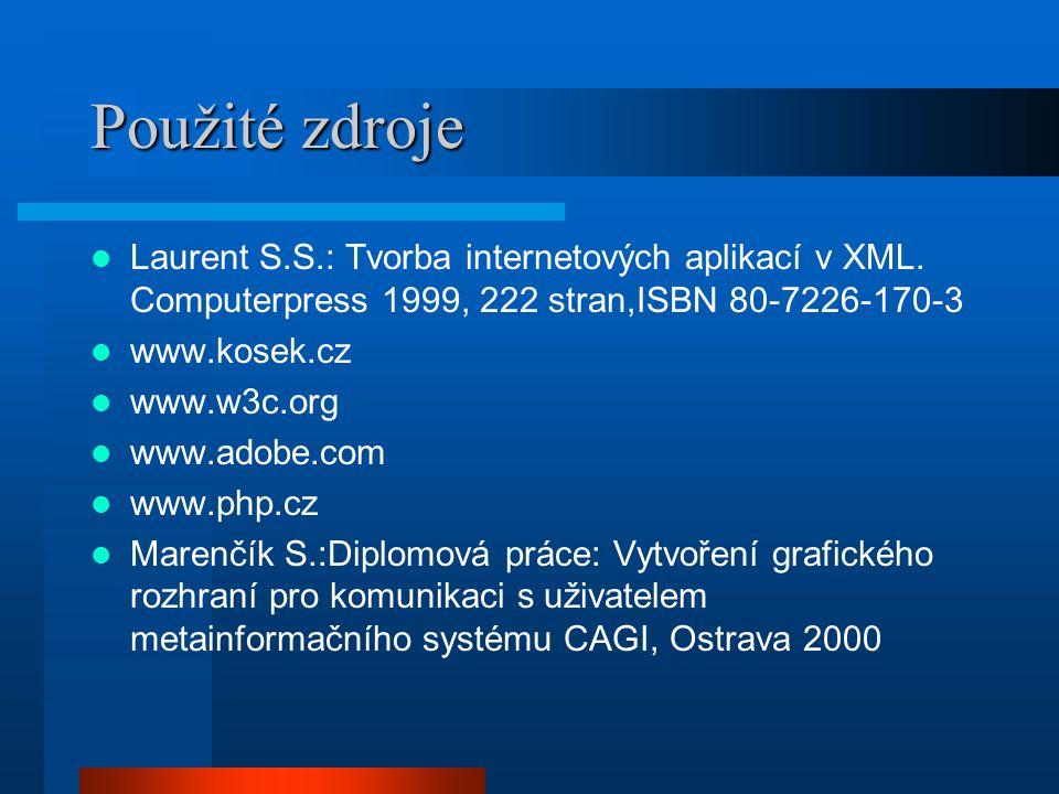 Použité zdroje Laurent S.S.: Tvorba internetových aplikací v XML.