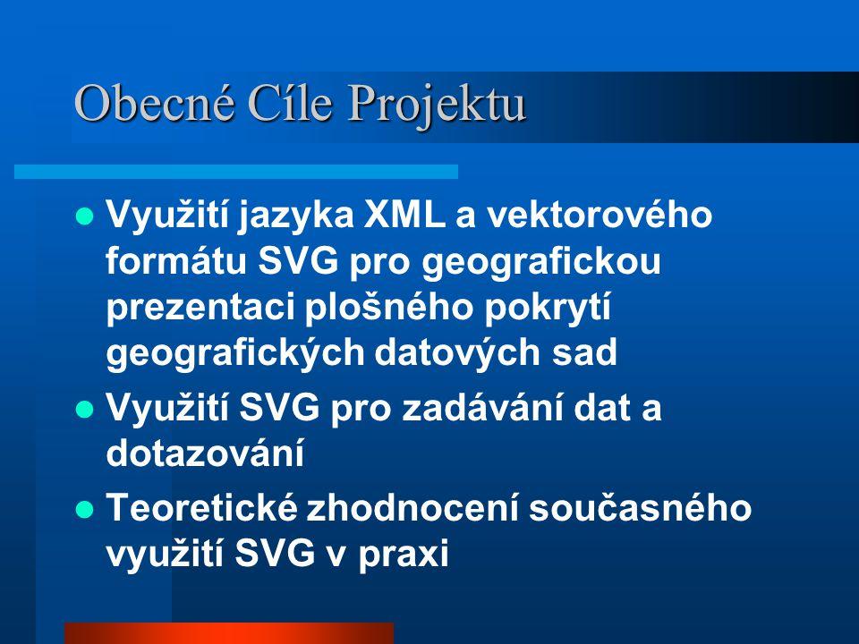 Obecné Cíle Projektu Využití jazyka XML a vektorového formátu SVG pro geografickou prezentaci plošného pokrytí geografických datových sad Využití SVG pro zadávání dat a dotazování Teoretické zhodnocení současného využití SVG v praxi