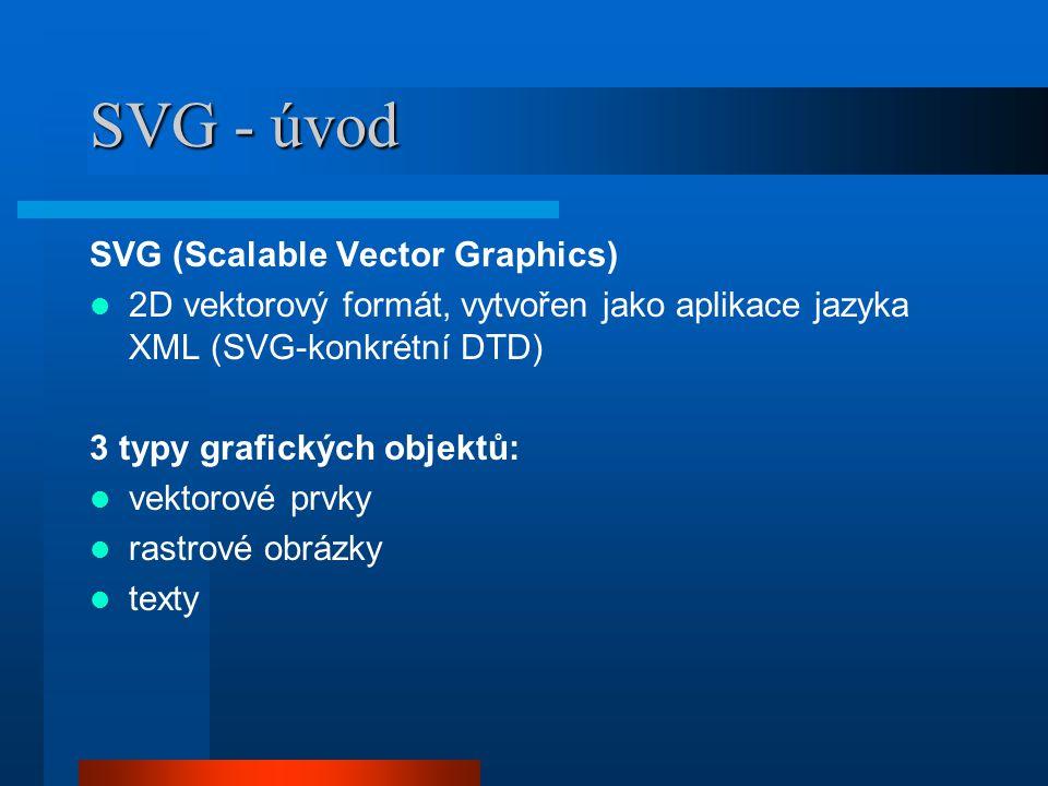 SVG - část 2 Prvky pro tvorbu vektorové grafiky: obdelník, kruh, elipsa, linie, polylinie, polygon Celý kód SVG se vkládá do prvku, ve kterém mohou být vnořeny další prvky SVG - příklad