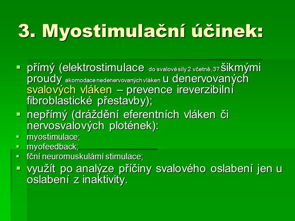 3. Myostimulační účinek:  přímý (elektrostimulace do svalové síly 2 včetně, 3? šikmými proudy akomodace nedenervovaných vláken u denervovaných svalov