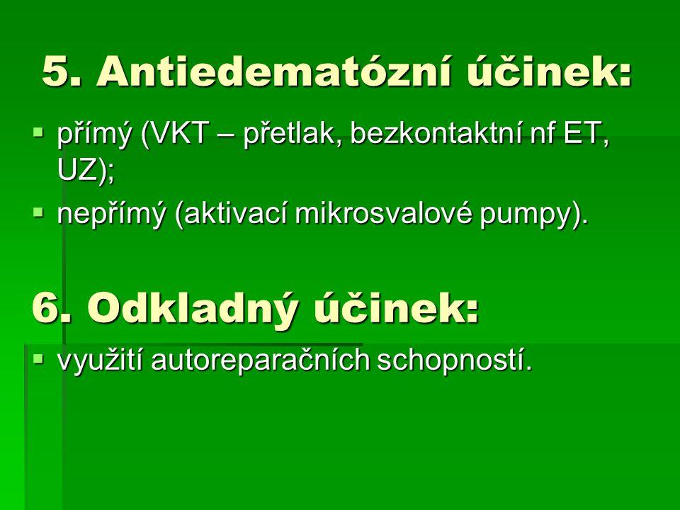 5. Antiedematózní účinek:  přímý (VKT – přetlak, bezkontaktní nf ET, UZ);  nepřímý (aktivací mikrosvalové pumpy). 6. Odkladný účinek:  využití auto