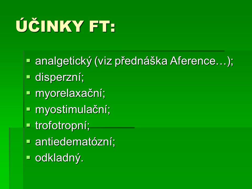 ÚČINKY FT:  analgetický (viz přednáška Aference…);  disperzní;  myorelaxační;  myostimulační;  trofotropní;  antiedematózní;  odkladný.