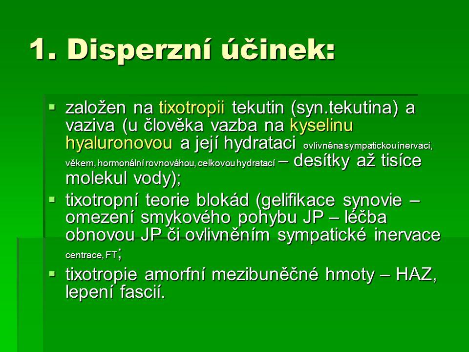 1. Disperzní účinek:  založen na tixotropii tekutin (syn.tekutina) a vaziva (u člověka vazba na kyselinu hyaluronovou a její hydrataci ovlivněna symp