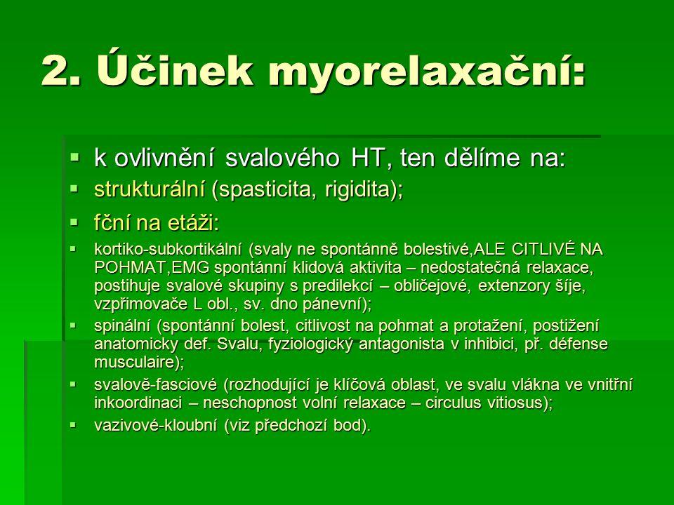 2. Účinek myorelaxační:  k ovlivnění svalového HT, ten dělíme na:  strukturální (spasticita, rigidita);  fční na etáži:  kortiko-subkortikální (sv