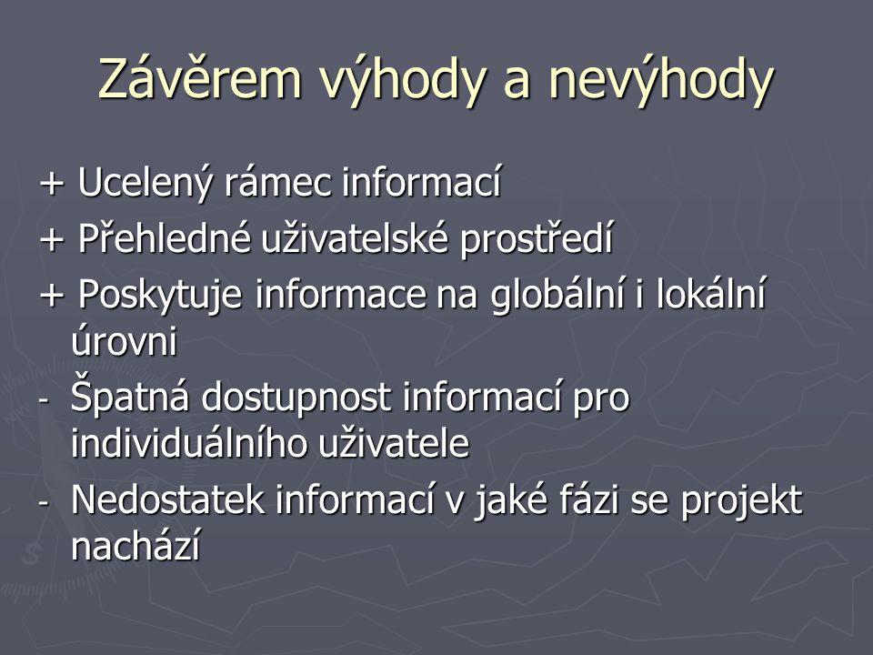 Závěrem výhody a nevýhody + Ucelený rámec informací + Přehledné uživatelské prostředí + Poskytuje informace na globální i lokální úrovni - Špatná dostupnost informací pro individuálního uživatele - Nedostatek informací v jaké fázi se projekt nachází