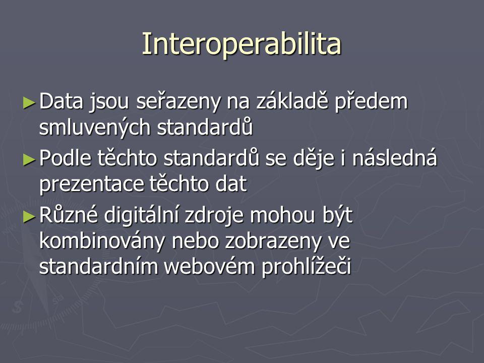 Interoperabilita ► Data jsou seřazeny na základě předem smluvených standardů ► Podle těchto standardů se děje i následná prezentace těchto dat ► Různé digitální zdroje mohou být kombinovány nebo zobrazeny ve standardním webovém prohlížeči