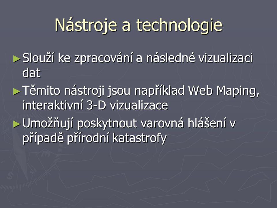 Nástroje a technologie ► Slouží ke zpracování a následné vizualizaci dat ► Těmito nástroji jsou například Web Maping, interaktivní 3-D vizualizace ► Umožňují poskytnout varovná hlášení v případě přírodní katastrofy
