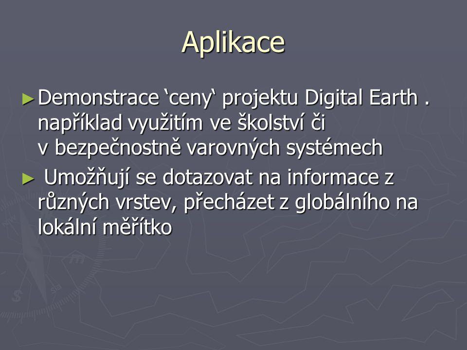 Aplikace ► Demonstrace 'ceny' projektu Digital Earth.