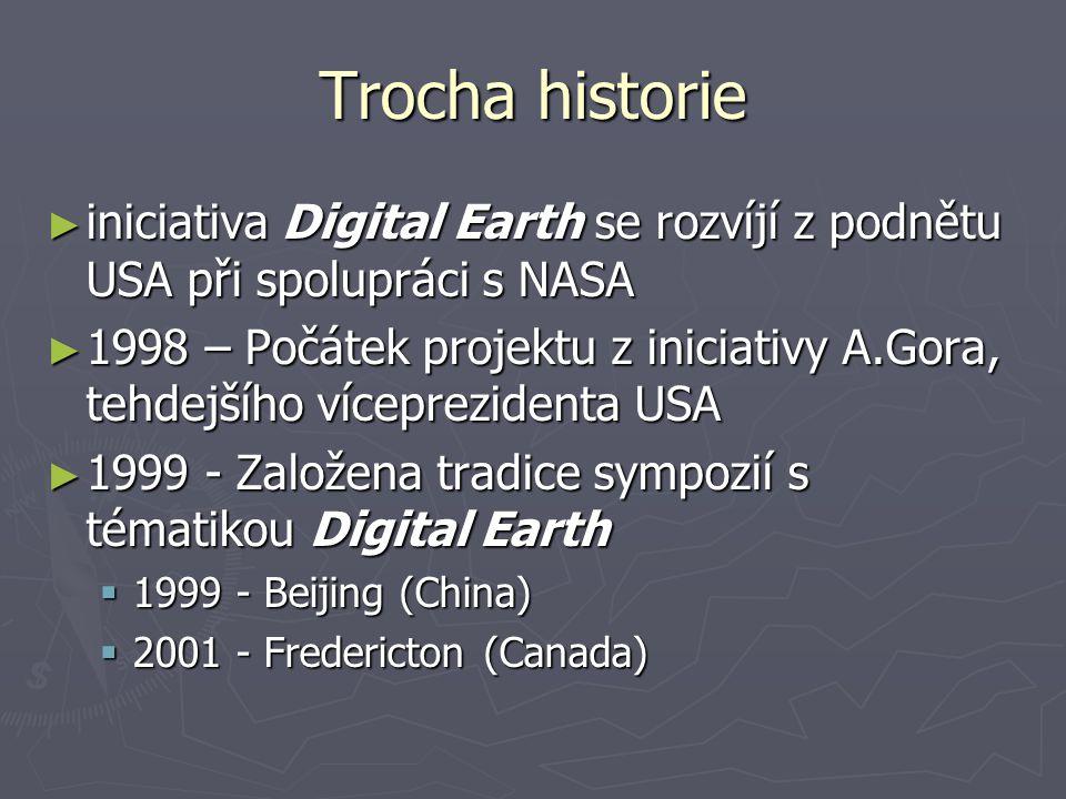 Trocha historie ► iniciativa Digital Earth se rozvíjí z podnětu USA při spolupráci s NASA ► 1998 – Počátek projektu z iniciativy A.Gora, tehdejšího víceprezidenta USA ► 1999 - Založena tradice sympozií s tématikou Digital Earth  1999 - Beijing (China)  2001 - Fredericton (Canada)