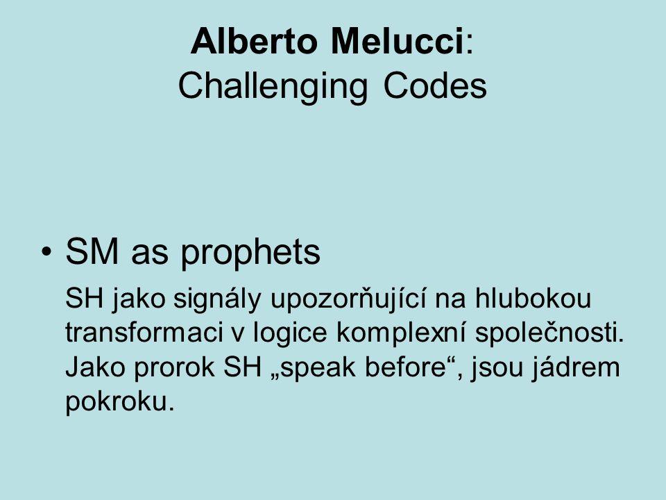Alberto Melucci: Challenging Codes SM as prophets SH jako signály upozorňující na hlubokou transformaci v logice komplexní společnosti.