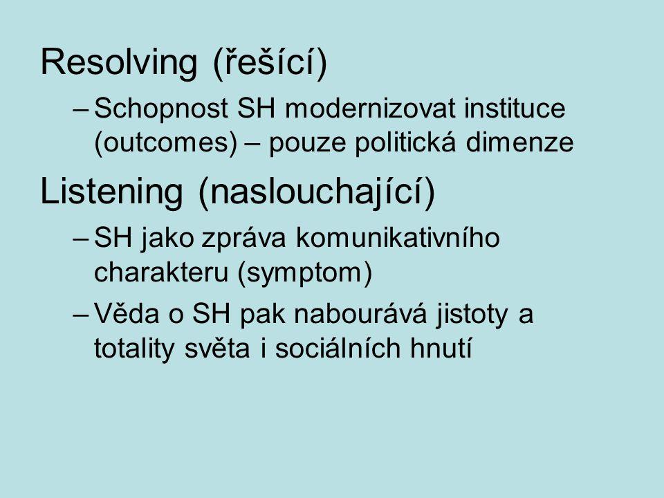 Resolving (řešící) –Schopnost SH modernizovat instituce (outcomes) – pouze politická dimenze Listening (naslouchající) –SH jako zpráva komunikativního charakteru (symptom) –Věda o SH pak nabourává jistoty a totality světa i sociálních hnutí