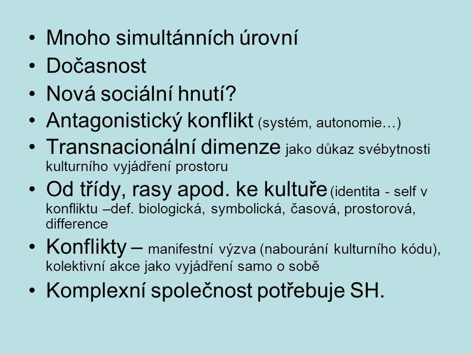 Mnoho simultánních úrovní Dočasnost Nová sociální hnutí.
