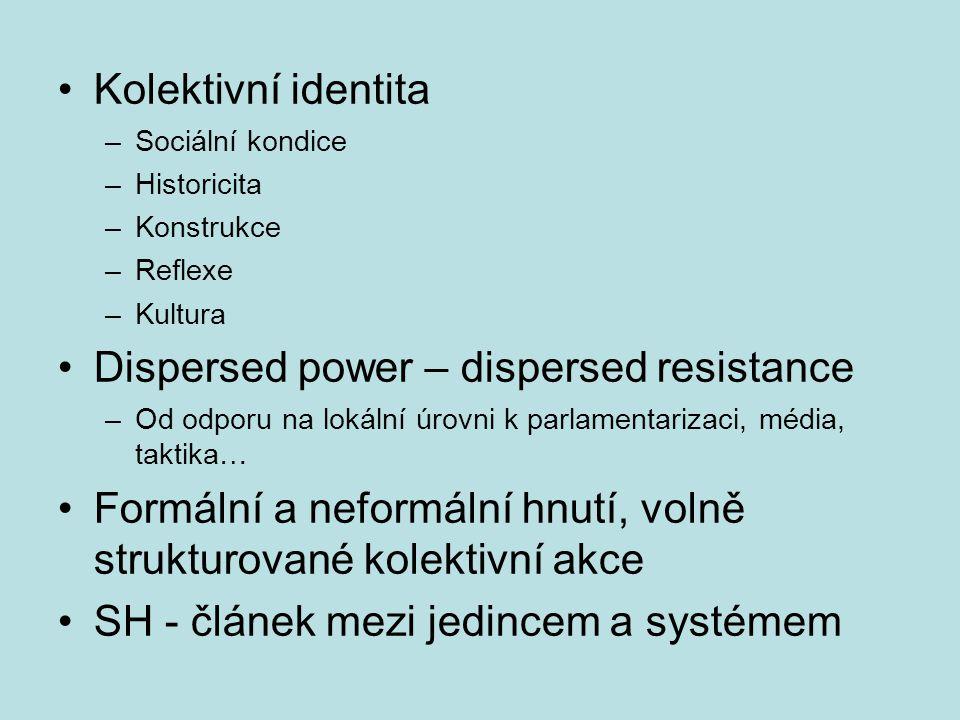 Kolektivní identita –Sociální kondice –Historicita –Konstrukce –Reflexe –Kultura Dispersed power – dispersed resistance –Od odporu na lokální úrovni k parlamentarizaci, média, taktika… Formální a neformální hnutí, volně strukturované kolektivní akce SH - článek mezi jedincem a systémem