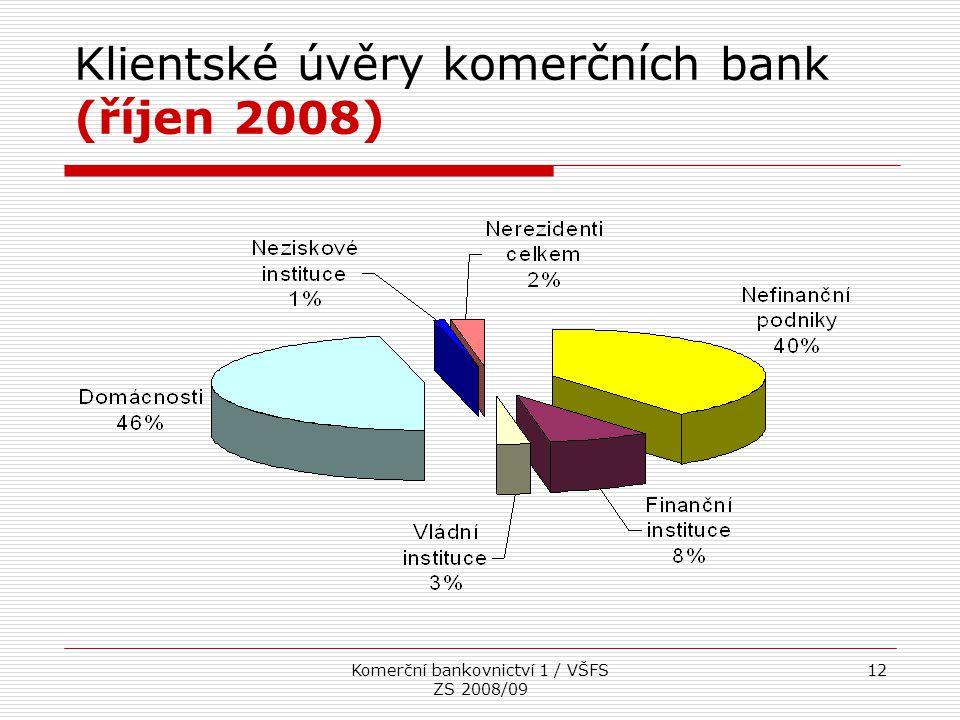 Komerční bankovnictví 1 / VŠFS ZS 2008/09 12 Klientské úvěry komerčních bank (říjen 2008)
